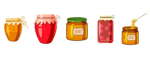 Jar elemente festgelegt. cartoon satz von glas Premium Vektoren
