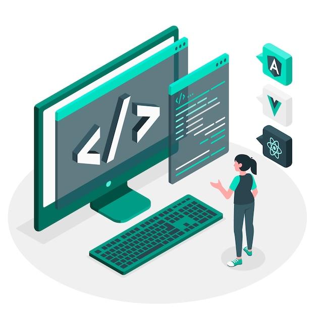 Javascript-rahmenkonzeptillustration Kostenlosen Vektoren