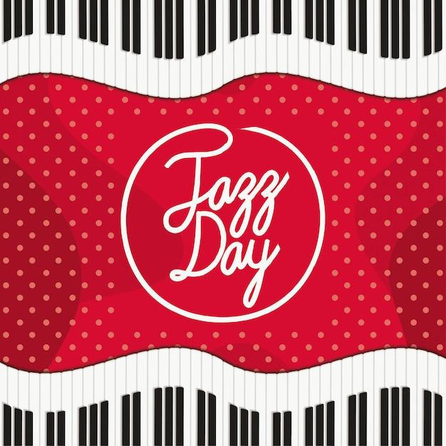 Jazz day poster mit klaviertastatur Premium Vektoren