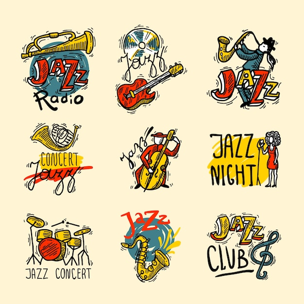 Jazz-etiketten-set Kostenlosen Vektoren