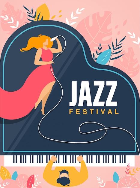 Jazz festival banner, einladung, konzert flyer. Premium Vektoren