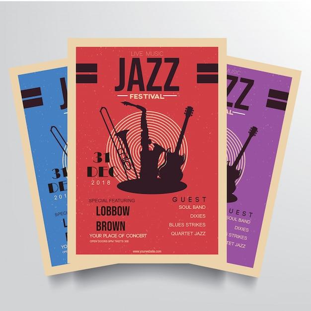 Jazz festival flyer vorlage vektor Premium Vektoren