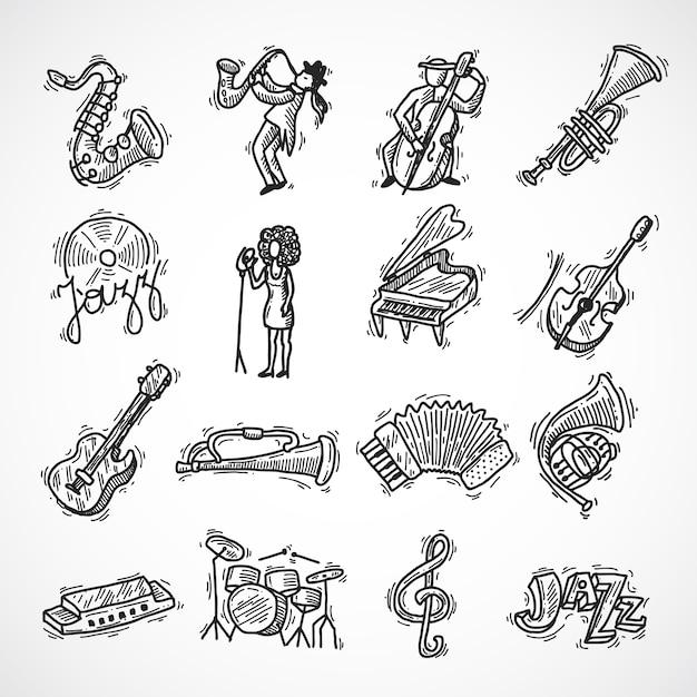 Jazz-ikonen-skizze Kostenlosen Vektoren