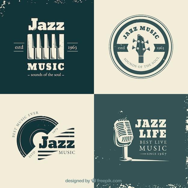 Jazz-logo-sammlung mit vintage-stil Kostenlosen Vektoren