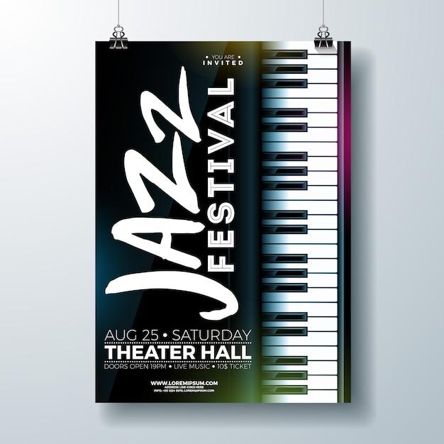 Jazz music festival flyer design mit klaviertastatur Premium Vektoren