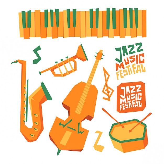 Jazz musik festival gestaltungselement Premium Vektoren