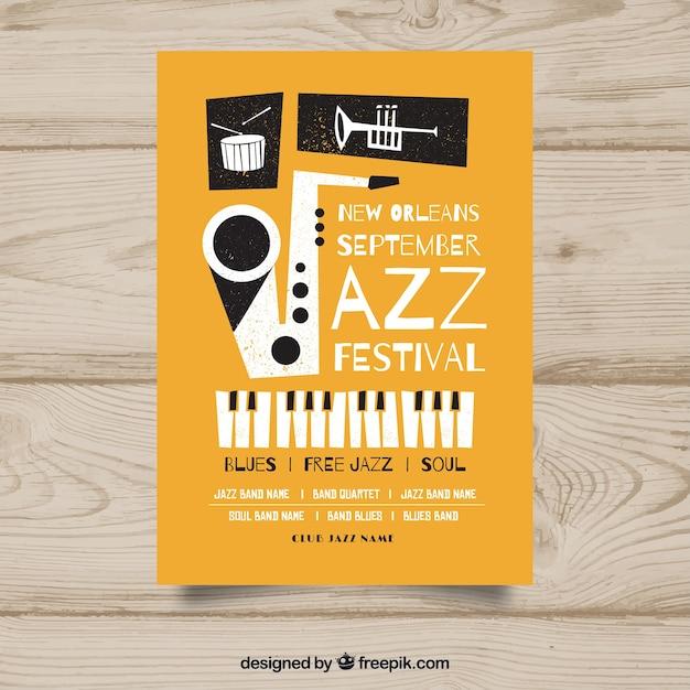 Jazz musik poster vorlage Kostenlosen Vektoren