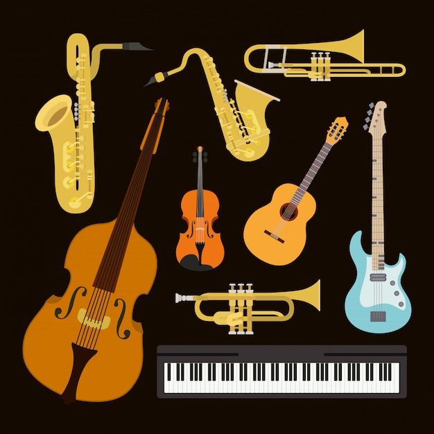 Jazz-tagsplakat mit gesetzten instrumenten Premium Vektoren