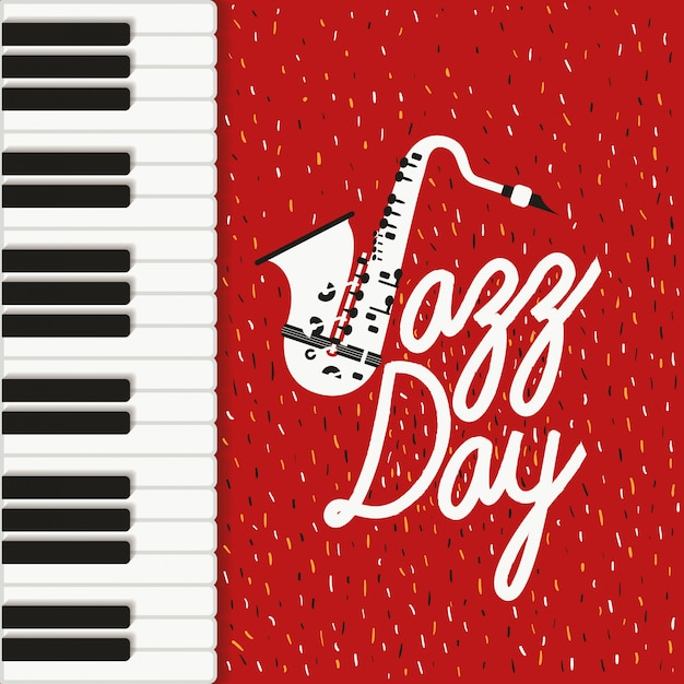 Jazz-tagsplakat mit klaviertastatur und saxophon Premium Vektoren