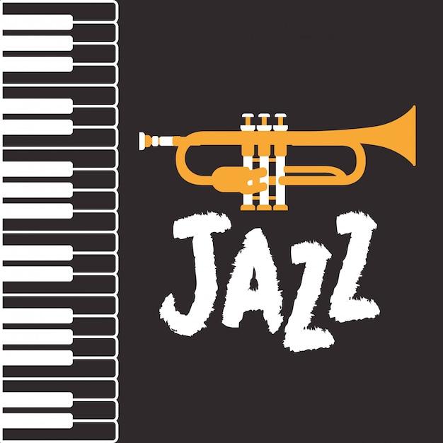 Jazz-tagsplakat mit klaviertastatur und trompete Premium Vektoren