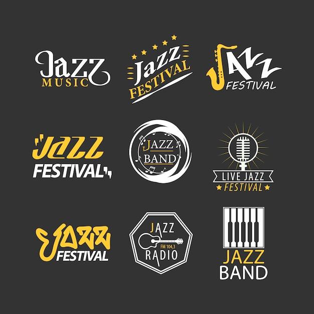 Jazzfestivallogos eingestellt lokalisiert auf schwarzem hintergrund. Premium Vektoren