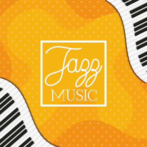 Jazzmusikplakat mit klaviertastatur Premium Vektoren