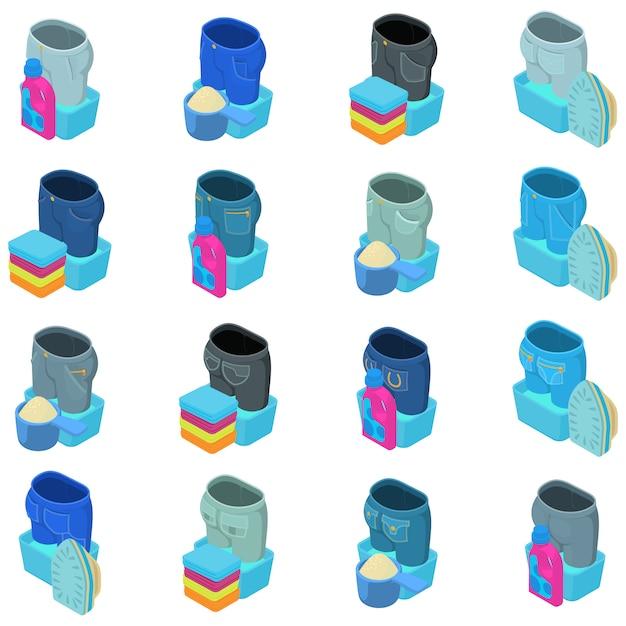 Jeans-icon-set zu waschen Premium Vektoren