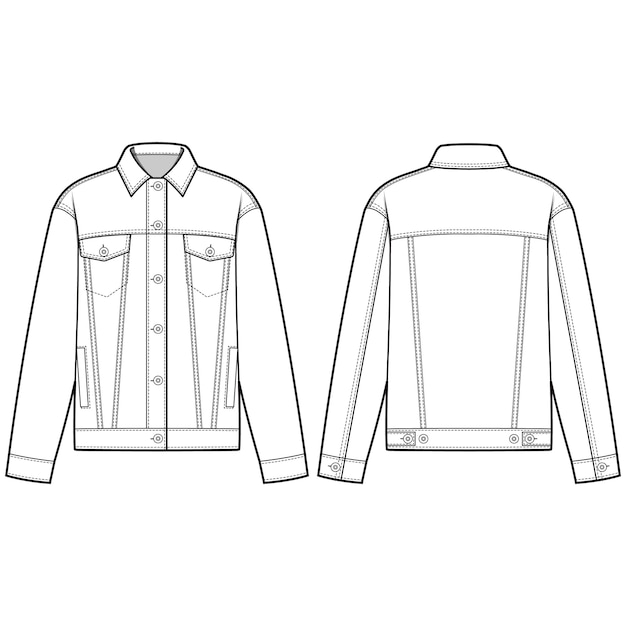 Jeansjacke äußere mode flache skizze vorlage Premium Vektoren