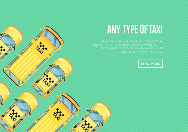 Jede art von taxi banner mit gelben taxis Premium Vektoren