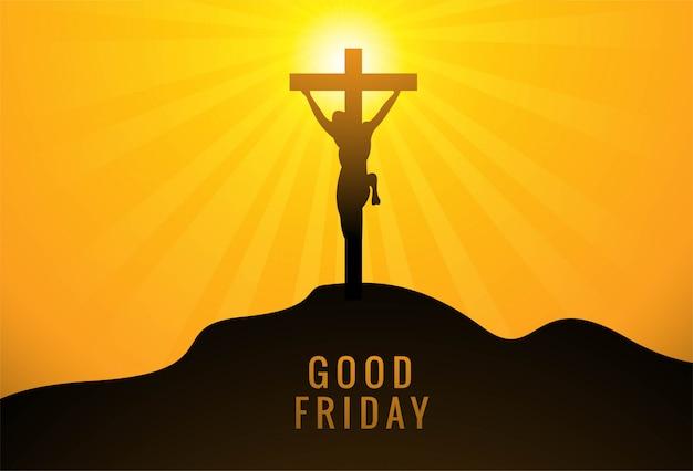 Jesus christus am kreuz vor dem hintergrund des untergehenden himmels der sonne Kostenlosen Vektoren