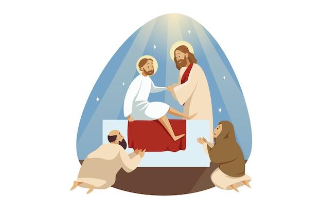 Jesus christus, sohn gottes, biblischer charakter der prophet des messias macht einen wundersamen aufstieg Premium Vektoren