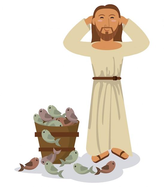 Jesus christus wunder multiplikation fisch symbol Premium Vektoren