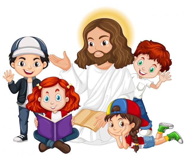 Jesus predigt zu einer zeichentrickfigur einer kindergruppe Kostenlosen Vektoren