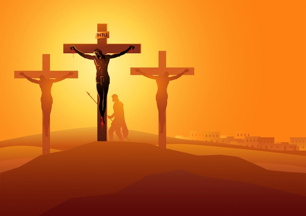 Jesus stirbt am kreuz Premium Vektoren