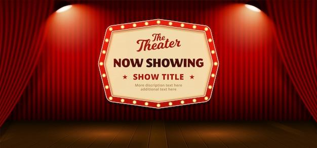 Jetzt retro klassischen schild mit textvorlage anzeigen. rote theater bühnenvorhang kulisse Premium Vektoren