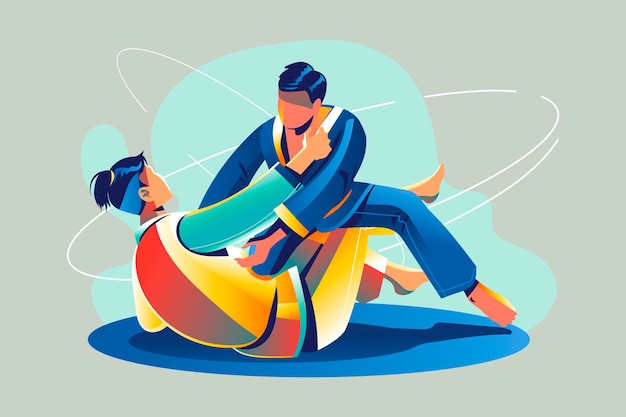 Jiu-jitsu-athleten kämpfen Kostenlosen Vektoren