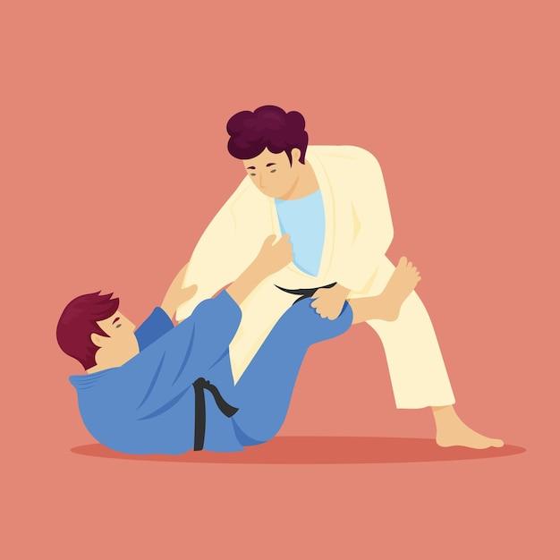 Jiu-jitsu-karate-athleten kämpfen Kostenlosen Vektoren
