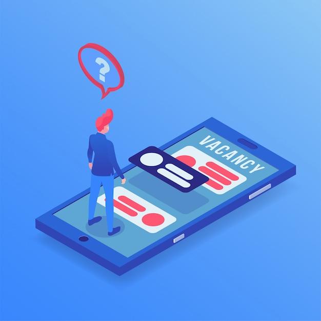 Job, der isometrische illustration app sucht Premium Vektoren