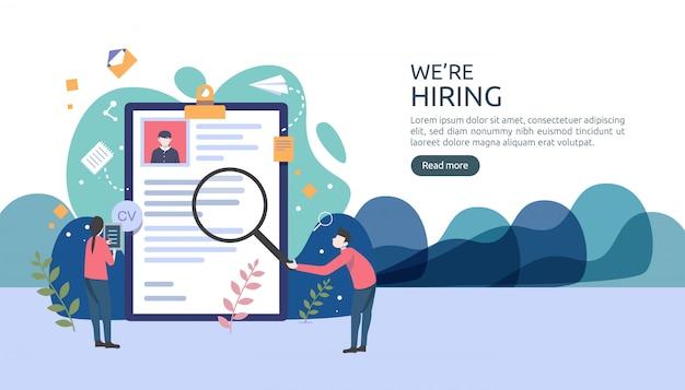 Job-einstellung und on-line-rekrutierungskonzept mit kleinem leutecharakter. wählen sie einen wiederaufnahmeprozess aus. Premium Vektoren