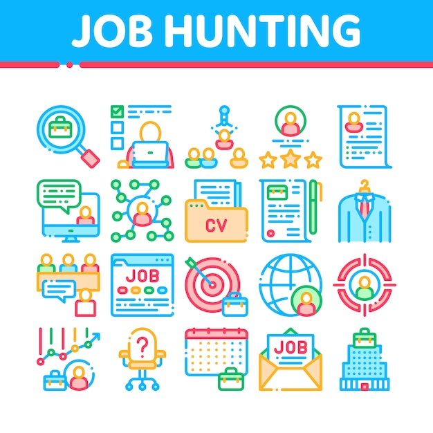 Job jagd icons sammlung Premium Vektoren