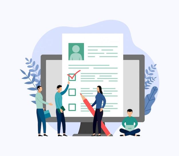 Jobeinstellung und on-line-einstellung, checkliste, fragebogen, geschäftsillustration Premium Vektoren