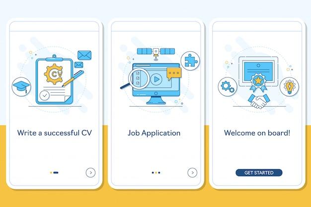 Jobsuche auf dem bildschirm der mobilen app-seite Premium Vektoren
