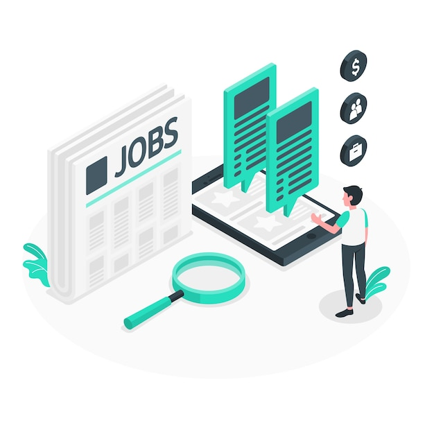 Jobsuche konzept illustration Kostenlosen Vektoren