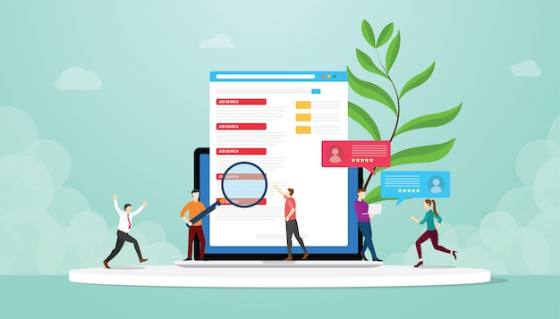 Jobsuche oder jäger mit leuten suchen jobliste auf internet-laptop über online mit moderner flacher art - Premium Vektoren