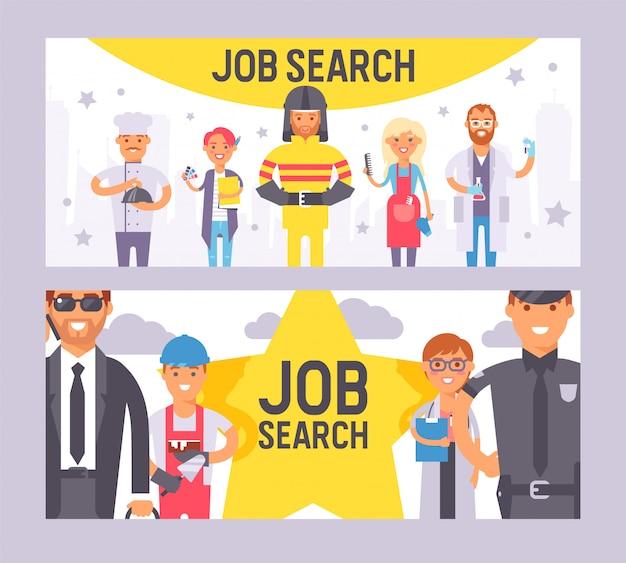 Jobsuchesatz der fahnenvektorillustration. menschen verschiedener berufe. tag der arbeit. leutebesetzungs-jobcharaktere, die berufsuniform tragen Premium Vektoren