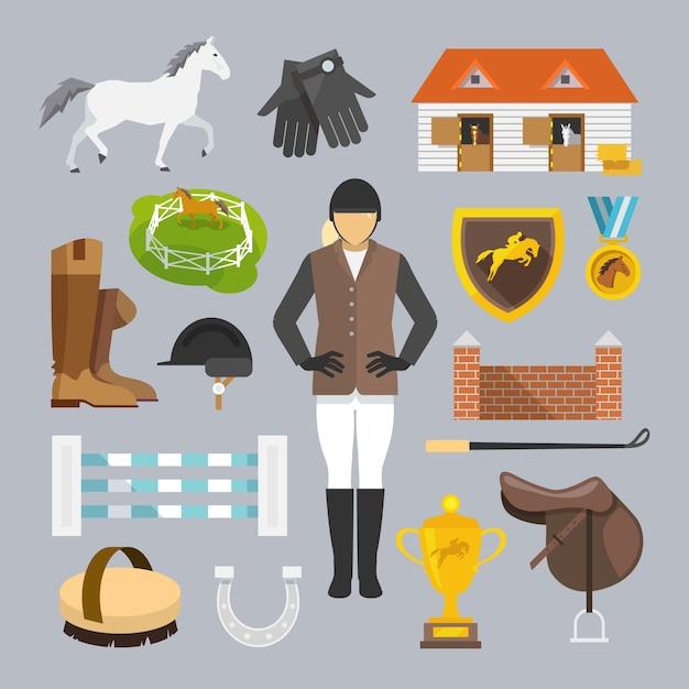 Jockey-ikonen flach Kostenlosen Vektoren