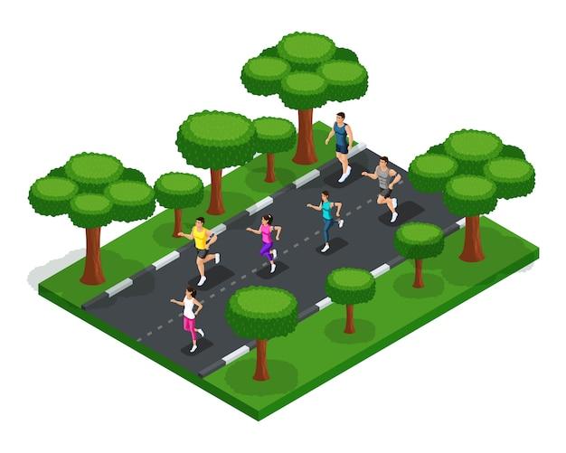 Joggen im park junger menschen, männer und frauen, morgendliches laufen, frische der natur, gesunder lebensstil Premium Vektoren