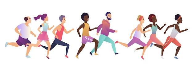Joggen laufen menschen marathon Premium Vektoren