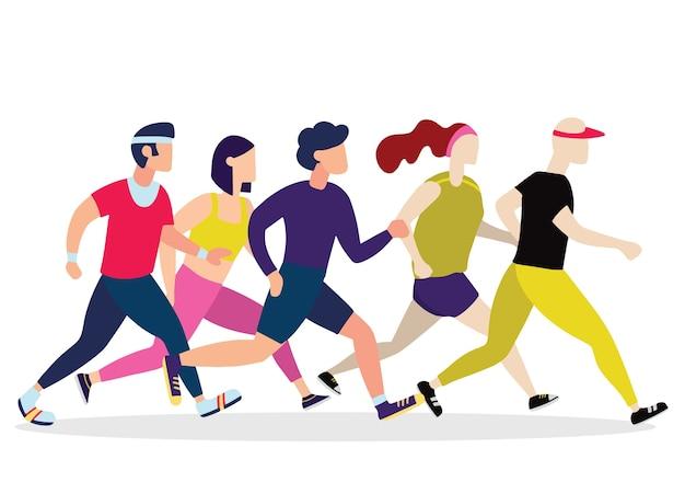 Jogging-leute. läufer gruppe in bewegung Premium Vektoren