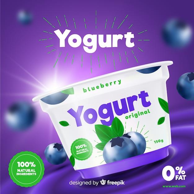 Joghurt-anzeige Kostenlosen Vektoren