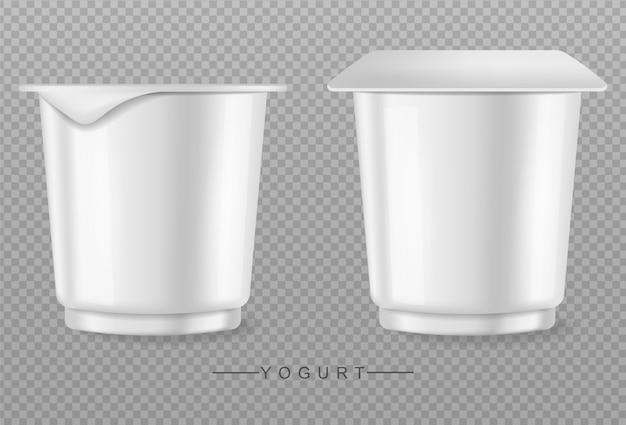 Joghurt getrennt auf transparentem hintergrund Premium Vektoren