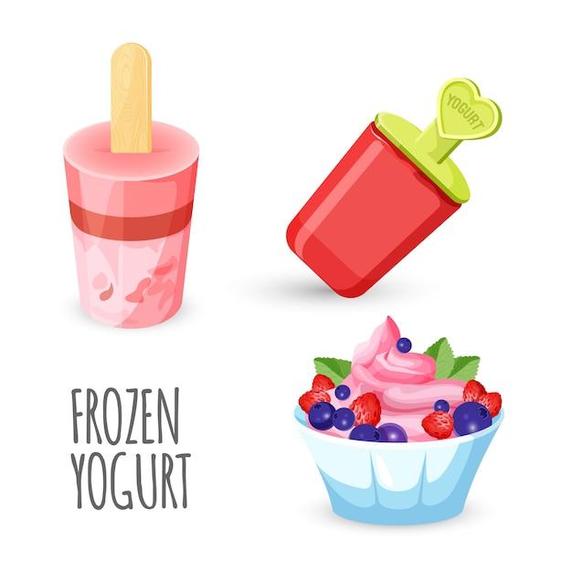 Joghurteis auf holz Premium Vektoren