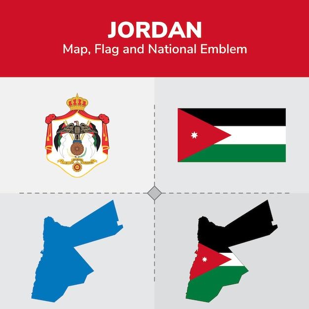 Jordanien-karte, flagge und nationales emblem Premium Vektoren