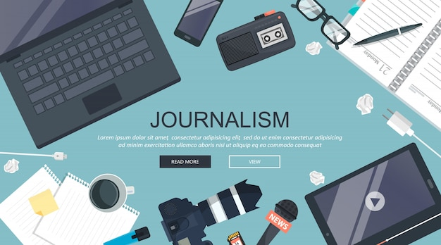 Journalismuskonzept, arbeitsschreibtisch Premium Vektoren