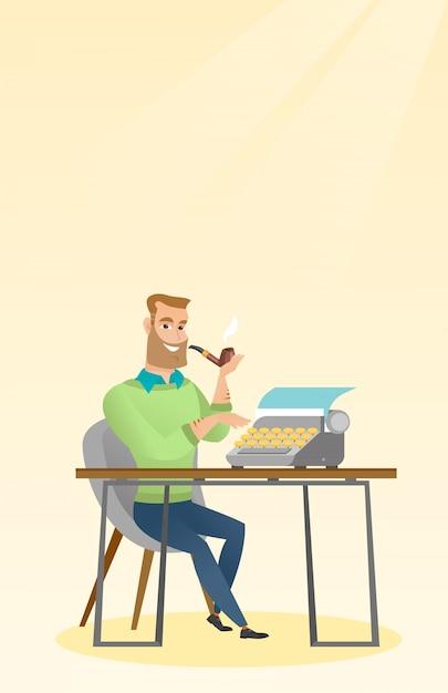 Journalist, der an retro- schreibmaschine arbeitet. Premium Vektoren