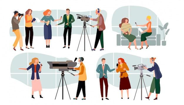 Journalist interviewt illustration, zeichentrickfilm-moderator, menschen mit mikrofon, massenmedien auf weiß Premium Vektoren