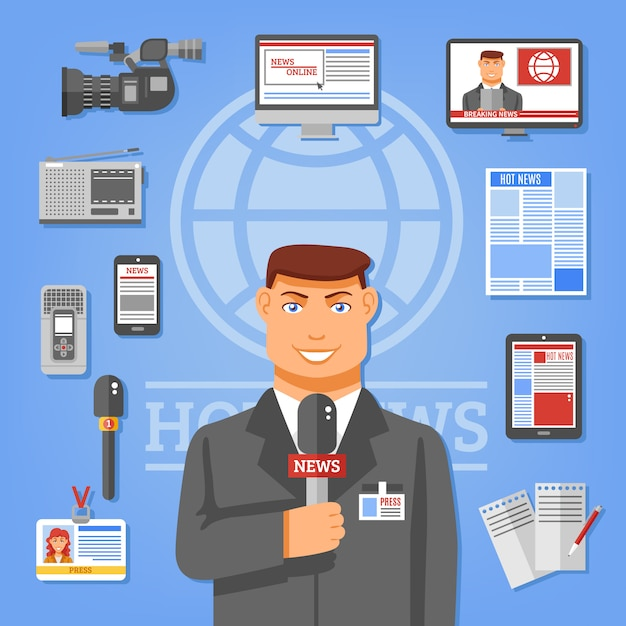 Journalist-konzept-illustration Kostenlosen Vektoren
