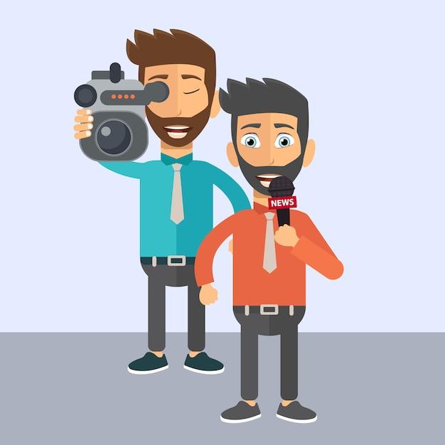 Journalist und nachrichtenreporter Premium Vektoren