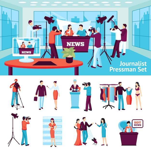 Journalist und pressmann-set Kostenlosen Vektoren