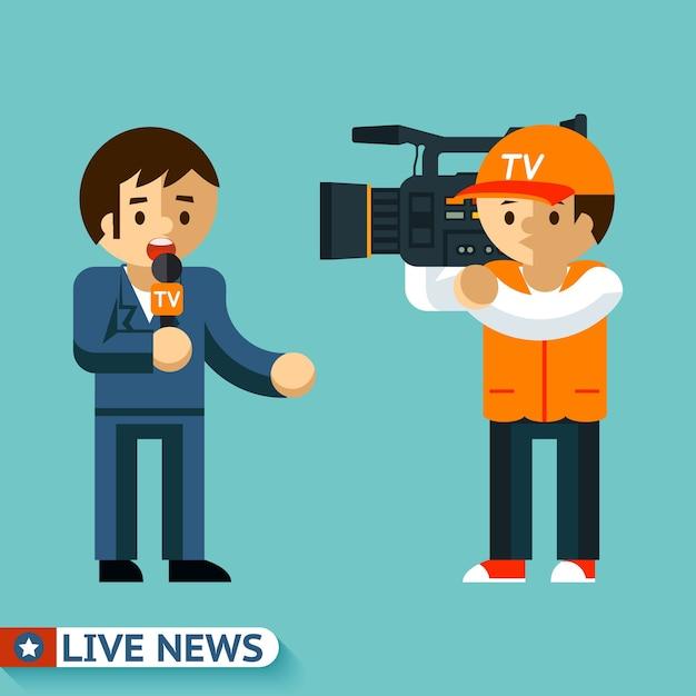 Journalisten drehen einen videobericht in der luft. live nachrichten. Kostenlosen Vektoren